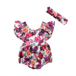 Wholesale One Pieces Toddler Baby Girls Backless Rompers Jumpsuit Floral Ruffles Romper Outfit Headband Clothes Summer