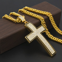 Simple Gold Pendant For Men NZ - Hot Sale Hip-Hop Necklace Curved Simple Cross Pendant with Crystal and Black Borders Necklace for Men Trend Jewelry Gift