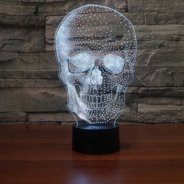 Batteries Usb Mouse Australia - New Skull Halloween 3D Optical Illusion Lamp Night Light DC 5V USB Powered AA Battery Wholesale Dropshipping