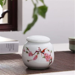 spice bottle lids NZ - Mini Ceramic Storage Boxes with Cover Salt Tea Food Containers Home Kitchen Supplies White Flower Pattern Bottle Boxes with Lids
