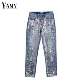 fb4aa446784 Sequin jeans woman sexy plus size vintage mid waist hole mom boyfriend  ripped jeans for women s distressed denim pants
