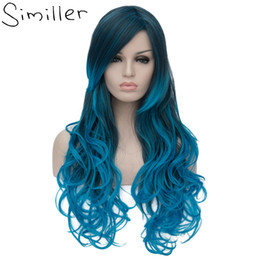 fiber root 2019 - Similler 26inch Heat Resistant Fiber Hair Dark Root Ombre Blue Highlight Body Wave Synthetic Wig For Women Cosplay cheap