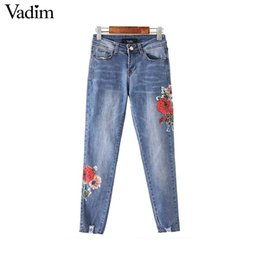 $enCountryForm.capitalKeyWord Canada - Vadim women vintage floral pattern denim jeans holes pockets zipper ankle length pants regular basic casual trousers KZ1077