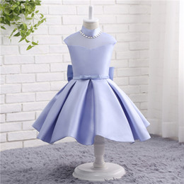 Wholesale Satin Flower girl Dress Romantic Princess Dress for Weddings Tulle Flower Girls Gowns For Birthday Party TZ009