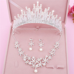 cheap silver combs 2019 - Three Pieces Cheap Earrings Necklines Crowns Crystals Wedding Tiaras Beaded Bridal Crowns Rhinestone HeadPieces Comb Hai