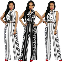 b5df68fbd171 New Summer Sleeveless Tank Long Pant Jumpsuit Women Romper Black White  Striped Casual Straight Wide Leg Overall Fashion