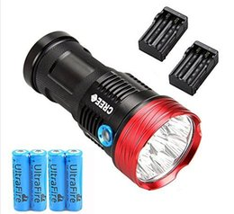 Recarregável 17000lm luz Skyray Rei 10T6 LED flashlamp 10 x CREE XM-L T6 LED Lanterna Tocha Lâmpada de Luz Para A Caça Camping + 4 PCS 18650 em Promoção