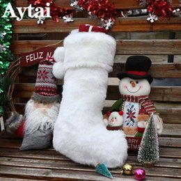 $enCountryForm.capitalKeyWord Australia - wholesale Big Size Cute White Faux Fur Christmas Stockings Pendant Boots Ornament Party Home Decoration Xmas Candy Gift Bag