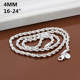 925 Sterling Silver Chains 24inch NZ - Fine 925 Sterling Silver Necklace,New 925 Silver Chain 4MM 16-24Inch Love Twiste Rope Necklace For Women Men Fashion Jewelry Link Italy N67