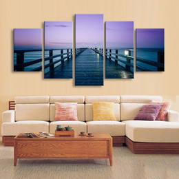 $enCountryForm.capitalKeyWord NZ - 5 pieces high-definition print Dock sea canvas painting poster and wall art living room picture PL5-193