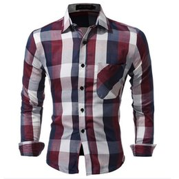 High Quality Mens Shirts Canada - Brand 2018 Fashion Male Shirt Long-Sleeves High quality Cotton Hit the color plaid Mens Dress Shirts Slim Men Shirt XXXL