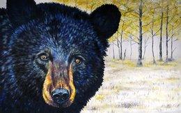 Giclee bear outono-olhos estudo pintura a óleo artes e arte da decoração da parede da lona Pintura A óleo sobre Tela longhorn steer marion rose MRR011 em Promoção