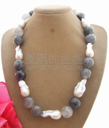 Chain Necklaces N021202 36 22mm Grey Keshi Pearl Crystal Necklace For Fast Shipping Jewelry & Accessories