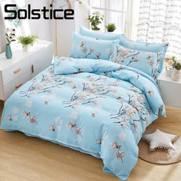 Wholesale Solstice Home Textile Queen Twin Bedding Suits Girl Teen Adult Woman Linens Flower Blue Duvet Cover Bed Sheet Pillow Case