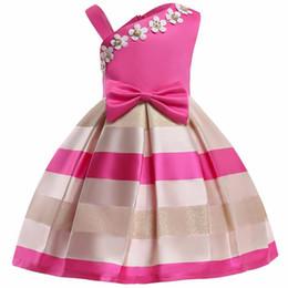 Girls Tassel Shirt Australia - Christmas Flower Dress Girl Princess Costume Dresses Girl Party Stripe Tulle Kids Children Prom Gown Vestido Formal Dress Bow