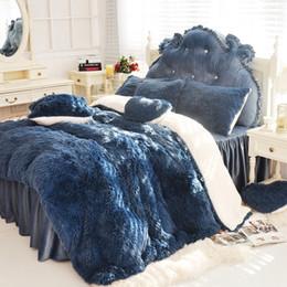 Velvet Duvet Cover King Canada - 3 4 6 7 pcs Pure Color Mink Velvet Bedding Sets Extra color lambs wool Fleece Duvet Cover Bed skirt Fied Twin Queen King size