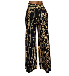 China New Arrivals 2018 Women Clothing Gold Chain Digital Printing Long Pants Straight Trousers Women Fashion Printed Pants High Waist Trousers cheap gold chain women's suppliers