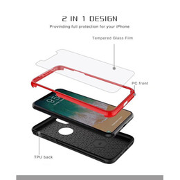 pc protectors NZ - For iPhone X 2 In 1 360 Degree Full Body Case Tempered Glass Screen Protector Front Hard PC Back Cover For iPhone 8 7 6 6s Plus Retailbox