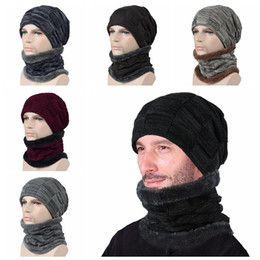Wholesale 6 Colors Winter Beanie Scarf Beanies Soft Skull Warm Baggy Cap Mask Gorros Hats Unisex Knitted Hat Outdoor Snapback set CCA10324 set
