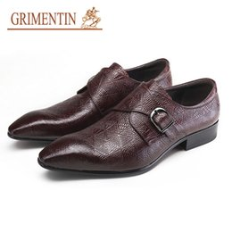 Male Leather Shoes Sale Australia - GRIMENTIN Mens Leather Shoes Italian Fashion Pointed Toe Hot Sale Oxfords Shoes High Quality Leather Buckle Formal Business Male Shoes OM