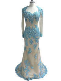 Sweetheart Beaded Evening Tulle Champagne Australia - New Arrival Blue Applique Champagne Prom Dress with Long Sleeves Elegant Sweetheart Open Back Beaded Evening Formal Gown