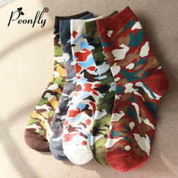 Men Colorful Fashion Socks Canada - PEONFLY 5 Pair Camouflage Men Socks for Loafer Men Cotton Socks Mens Breathable Colorful Free Size
