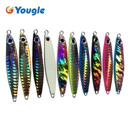 Metal Jigs NZ - 10PCS 22G Jigging Lure Pesca Metal Sequins Lures Bait Jigs Saltwater Road Sub lure fishing Sizzling bait