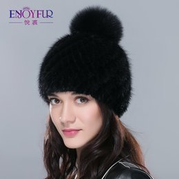 32506aae149 Hot sale real mink fur hat for women winter knitted mink fur beanies cap  with fox fur pom poms 2018 brand new thick female cap D18103006