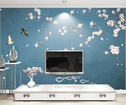 $enCountryForm.capitalKeyWord NZ - Custom 3D Photo Wallpaper Wall Murals Magnolia Hand-painted Flowers and Birds New Chinese Style Wall Decorative Painting Bedroom Living Room
