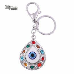 Eye Shaped Pendants Australia - My Shape Crystal Devil's Eye Charm Key Chain llaveros HandBag Enamel Cigaret Colorful Rhinestone Pendant Keyrings