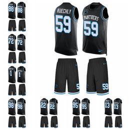 32ff3d5e7 Carolina Limited football Jersey Panthers Black Tank Top Suit 22 Christian  McCaffrey 1 Cam Newton 59 Luke Kuechly 21