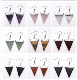 $enCountryForm.capitalKeyWord Australia - Wholesale 10 Pairs Silver Plated Triangle Shape Many Color Quartz Stone Drop Earrings For Women Fashion Jewelry