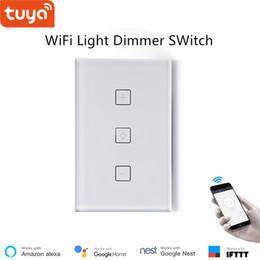 Dimming Light Switch Australia - US standard Smart WiFi LED dimming switch remote switch light dimmer smart life app control luxury glass panel 220V 400W alexa