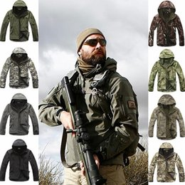 Camouflage Cotton Jacket NZ - Outdoor Sport Softshell Jackets Or Pants Men Hiking Hunting Clothes TAD Camouflage Military Tactical Sets Camping Hunting Suits Y1893006