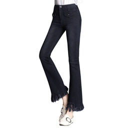 джинсы женские оптовых-WZJHZ Flare Jeans Women s High Waist Boot Cut Jeans Fashion Denim Pants Elastic Trouser Black Blue Sexy Slim High Waist