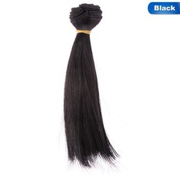 Discount wire wigs - pink brown khaki Wig Hair black Long Straight Hair color 15cm DIY Doll white grey High-temperature Wire