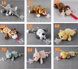 Toptan satış 10 Stil Yeni Silikon Hayvan Emzik Peluş Oyuncak Ile Bebek Zürafa Fil Meme Çocuklar Yenidoğan Toddler Çocuk Ürünleri Emzikler
