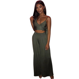 71a28b701d40 European hot style two pieces romper women crop top wide leg pants solid  body femme overalls 5203
