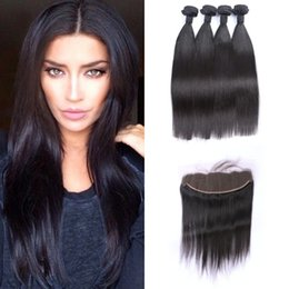 tangle free hair extensions 2019 - Brazilian Straight Lace Frontal Closure With 4 Bundles Virgin 100% Human Hair Extensions No Shedding Tangle Free cheap t