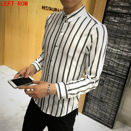 689131c3b45 Black Vertical Striped Shirt Canada - 2017 Classic vertical Striped Men  Shirts Long Sleeve Plus Size