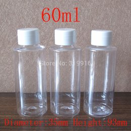 Travel Plastic Cosmetic Bottles Canada - 60ml X 50 empty transparent round cosmetic plastic bottles ,travel kits bottles ,shower gel containers , 60 cc clear PET bottle
