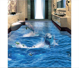 $enCountryForm.capitalKeyWord Australia - Self-adhesive Waterproof Flooring Wall Sticker Customized 3D wallpaper floor painting wall paper Dolphin rushing out of the ocean 3D floor