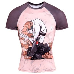 China Men MMA Short sleeves 3D Print t shirt raglan sleeve compression shirt Breathable clothing Slim fit elasticity male Fitness tees supplier xs mma shorts suppliers