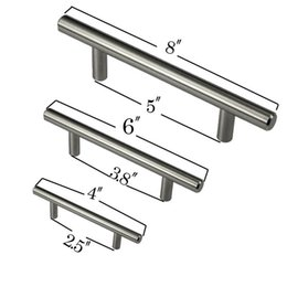 "Chinese  4"" 6"" 8"" Stainless Steel T Bar Pull Hardware Drawer Kitchen Cabinet Door Handles manufacturers"