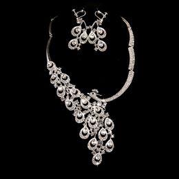 $enCountryForm.capitalKeyWord NZ - Bridal Wedding Party Jewelry Sets Crystal Rhinestone Pendant Necklace & Earrings Necklace Set Wedding Jewelry Parure Bijoux Femme