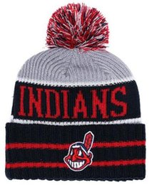 8ca3321b359 Top Selling INDIANS beanie beanies Sideline Cold Weather Reverse Sport  Cuffed Knit Hat with Pom Winer Skull Caps