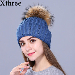 $enCountryForm.capitalKeyWord Australia - Xthree new Rhinestone embroidery Winter Wool Knitted Hat for Women Beanie Skullie Warm Cap Real Fur Pom Gorro Female Cap D18110601