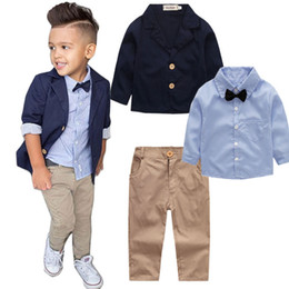 school clothes for boys 2019 - 3PC Spring Autumn boys clothing set back to school outfit baby boys clothes sets little gentleman for 2 3 4 5 6 7 8 year