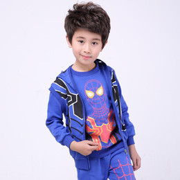 $enCountryForm.capitalKeyWord Canada - Fashion style Children's wear clothing autumn and winter boys sports suit hoodie vest, sweater and trousers long sleeve spider sets S18JS562