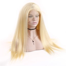 Discount blonde lace wig european - Brazilian #613 Blonde Lace Front Virgin Human Hair Wigs Straight Hair 130% Density Transparent Lace Fronta Wigs For Blac